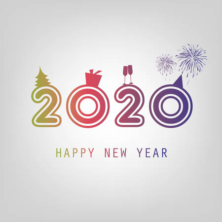 Best Wishes - New Year Card Background Template - 2020 Ilustrace