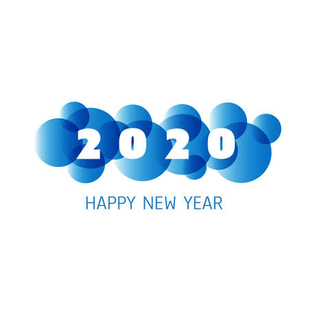 Simple Blue and White New Year Card, Cover or Background Design Template - 2020 Foto de archivo - 135498749