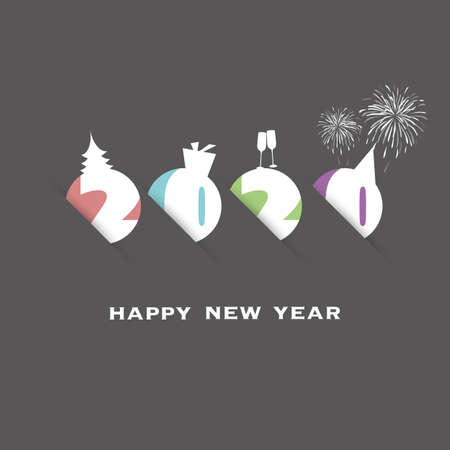 Simple Colorful New Year Card, Cover or Background Design Template - 2020