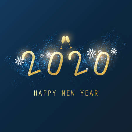 Happy New Year Card, Flyer or Cover Design with Champagne Glasses - 2020 Foto de archivo - 135498664