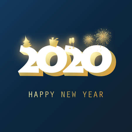 Best Wishes - Dark Golden and White New Year Card, Cover or Background Design Template With Christmas Tree, Gift Box, Drinking Glasses And Fireworks - 2020