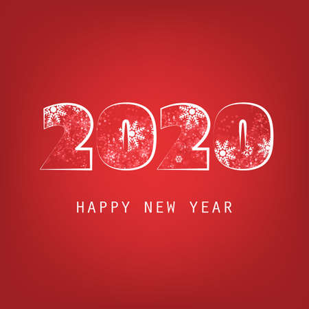 Simple White And Red New Year Card, Cover or Background Design Template - 2020