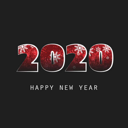 Simple White, Black And Red New Year Card, Cover or Background Design Template - 2020