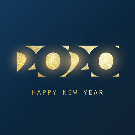 Best Wishes - Abstract Dark Golden Modern Style New Year Banner Design Template for Seasonal Holidays, Happy New Year Greeting Cards, Flyers or Backgrounds - 2020 Archivio Fotografico - 135955705