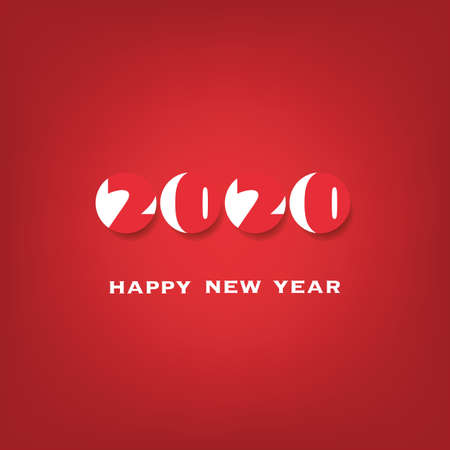 Simple White and Red New Year Card, Cover or Background Design Template - 2020 Archivio Fotografico - 135983694