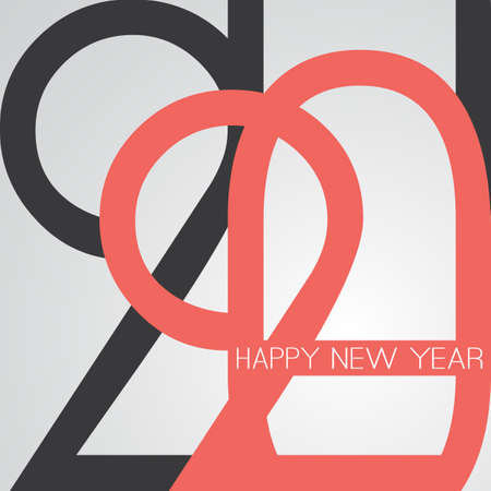 Best Wishes - Retro Style Happy New Year Greeting Card or Background, Creative Design Template - 2020