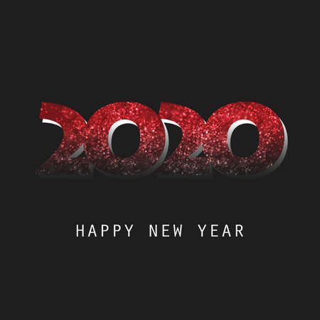 Best Wishes - Abstract Dark Red Modern Style Happy New Year Greeting Card or Background, Creative Design Template - 2020