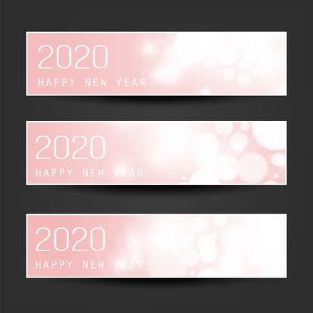 Set of Horizontal Christmas, New Year Headers or Banners - 2020