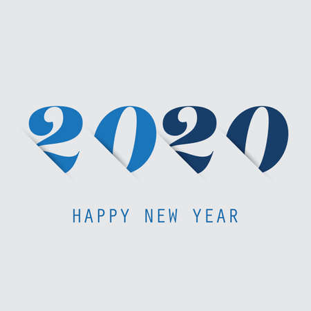 Simple Grey and Blue New Year Card, Cover or Background Design Template - 2020