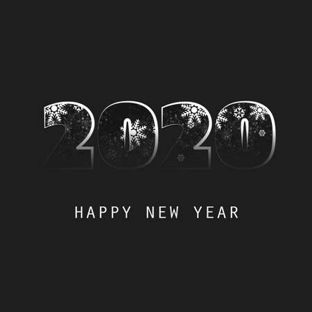 Simple White And Black New Year Card, Cover or Background Design Template - 2020