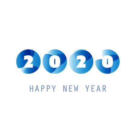 Simple Blue and White New Year Card, Cover or Background Design Template - 2020