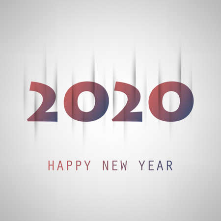 Simple Grey and Purple New Year Card, Cover or Background Design Template - 2020
