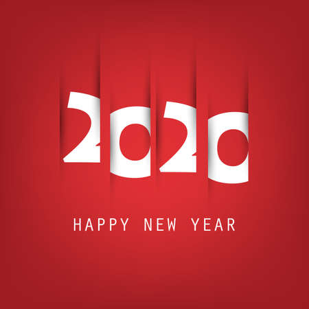 Simple White and Red New Year Card, Cover or Background Design Template - 2020 Vettoriali