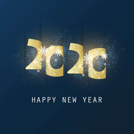 Best Wishes - Abstract Dark Golden Modern Style Happy New Year Greeting Card or Background, Creative Design Template - 2020