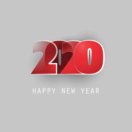Red, White and Grey New Year Card, Cover or Background Design Template - 2020
