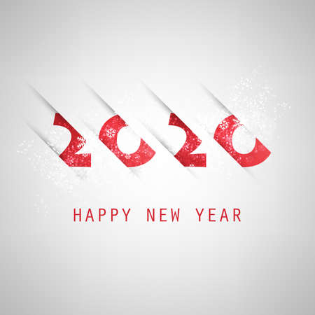 Best Wishes - Abstract Grey and Red Modern Style Happy New Year Greeting Card or Background, Creative Design Template - 2020