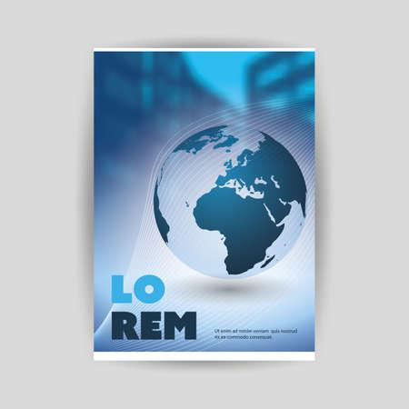 Diseño de portada o folleto de estilo moderno azul para su negocio con tema urbano borroso y globo terráqueo: plantilla aplicable para informes comerciales, presentaciones, carteles, carteles Ilustración de vector
