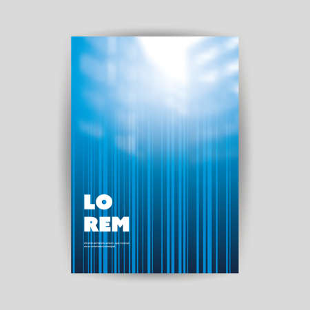 Blue Modern Style Striped Flyer or Cover Design for Your Business with Blurred Urban Theme - Applicable for Business Reports, Presentations, Banners, Placards, Posters