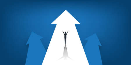 New Possibilities, Hope, Dreams - Business Achievements, Solutions Finding Concept - Man Standing on a Big Up Arrow - Vector Illustration