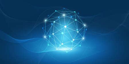 Computación en la nube de estilo minimalista azul abstracto, concepto de redes y telecomunicaciones, diseño creativo - conexiones de red, malla geométrica ondulada transparente - ilustración vectorial