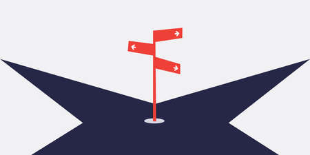 Choose the Best Direction - Business Decision Design Concept with Crossroads and Road Sign - Eps10 Vector Illustration