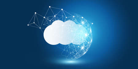 Cloud Computing Design Concept - Digital Connections, Technology Background with Wire Frame Sphere and Geometric Network Mesh