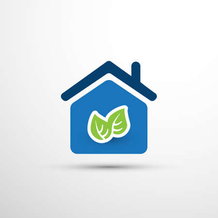 Eco Smart Home Concept Design - House Icon with Leaves