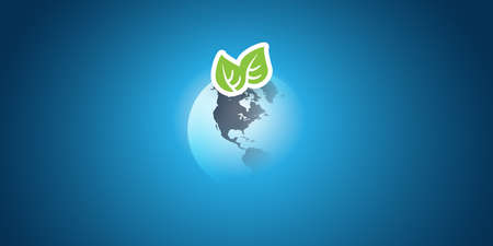 Blue Global Eco Concept Design Layout - Green Leaves and Earth Globe - Vector Template Vecteurs