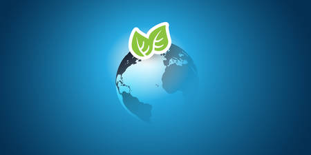 Blue Global Eco Concept Design Layout - Green Leaves and Earth Globe - Vector Template