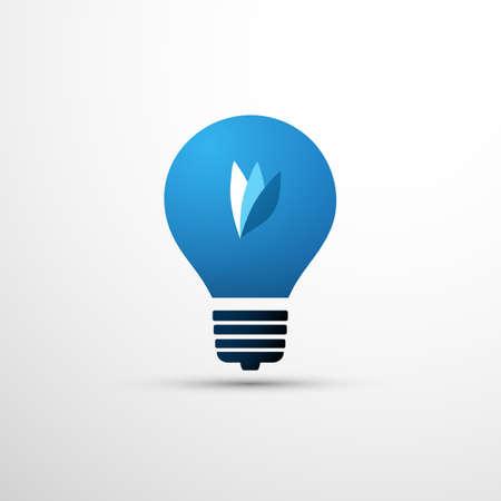 Blue Eco Energy Concept Icon Design - Leaves Inside a Light Bulb