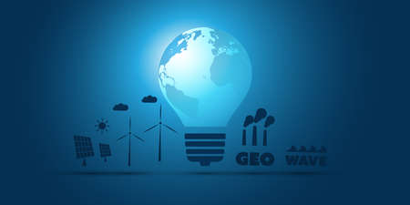 Blue Eco Energy Concept Icon Design width Various Alternative Energy Generating Equipment, Earth Globe and Light Bulb