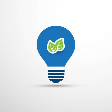Blue Eco Energy Concept Icon Design - Green Leaves Inside a Light Bulb