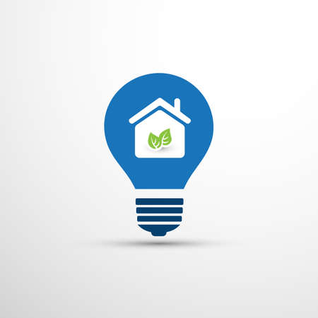 Blue Eco Energy Concept or Icon Design - Smart Home, House and Leaves Inside a Light Bulb