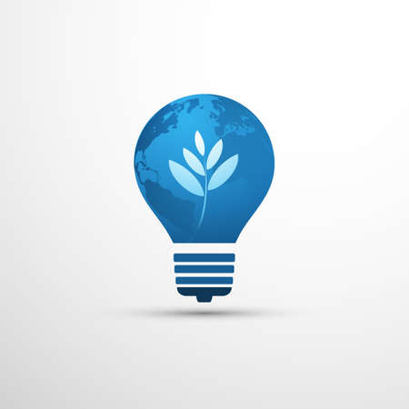 Blue Eco Energy Concept Icon Design - White Leaves and Earth Globe  Inside of a Light Bulb Illustration