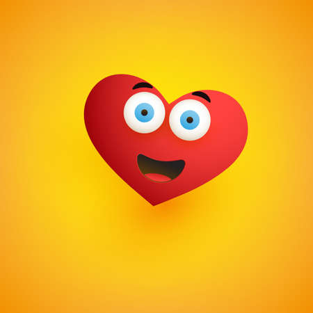 Smiling Face for Valentine's Day, Heart Shaped Emoticon on Yellow Background - Vector Design