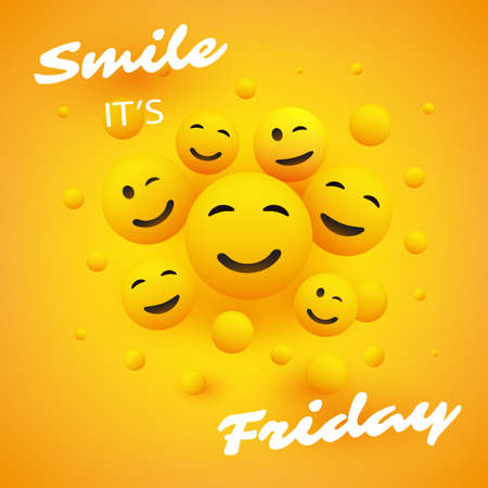Smile! It's Friday - Banner Design with Group of People, Set of Various Kinds of Smiling Happy Emoji