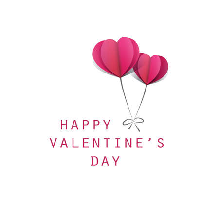 Valentines Day Card Design Template With Heart Shaped Balloons - Vector Design