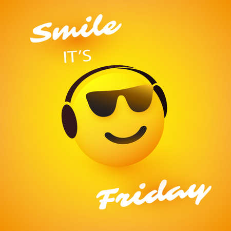 Smile! It's Friday - Weekend's Coming Banner With Smiling, Relaxing Emoji Wearing Sunglasses and Headphones
