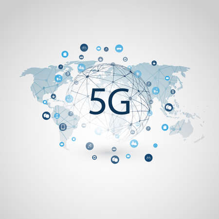 5G Network Label with Wireframe Sphere, Icons and World Map - High Speed, Broadband Mobile Telecommunication and Wireless Internet Design Concept