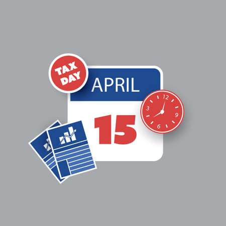 Colorful Tax Day Reminder Concept - Calendar Design Template - USA Tax Deadline, Due Date for IRS Federal Income Tax Returns: 15 April