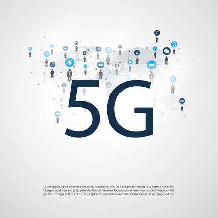 5G Network Label with Wire Mesh, Icons and World Map - High Speed, Broadband Mobile Telecommunication and Wireless Internet Design Concept