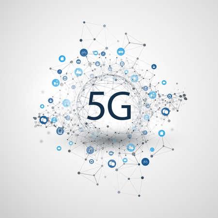 5G-Netzwerketikett mit Wireframe-Kugel, Mesh und Symbolen - Abstraktes futuristisches High-Speed-, Breitband-Mobilfunk- und drahtloses Internet-Designkonzept