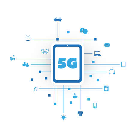 5G Network Design Concept with Icons Representing Various Kinds of Digital Devices or IoT Services