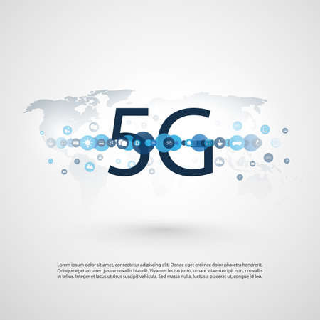 5G Network Label with Icons and World Map - High Speed, Broadband Mobile Telecommunication and Wireless Internet Design Concept