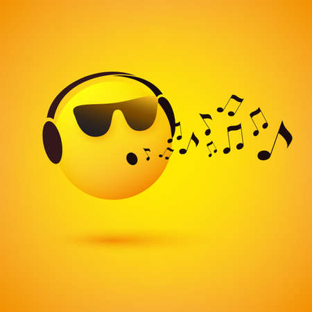 Singing or Whistling Emoticon, Face With Sunglasses and Headphones on Yellow Background - Vector Design Concept