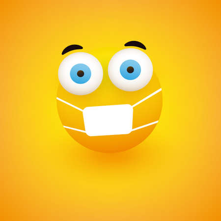 Emoji - Fearful, Concerned Emoticon with Pop Out Eyes and Medical Mask on Yellow Background - Vector Design