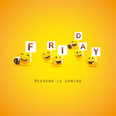 Friday! - Weekend's Coming Banner With Winking and Smiling Emoji, Emoticons Иллюстрация