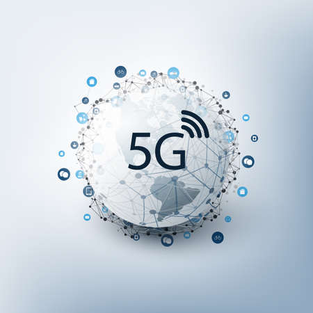 5G Network Label with Icons Representing Various Kind of Devices and Services - High Speed, Broadband Mobile Telecommunication and Wireless IoT Systems Design Concept