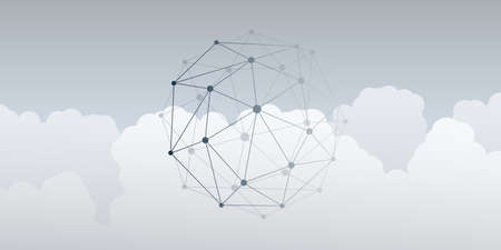 Abstract Minimal Style Cloud Computing, Networking and Telecommunications Concept, Creative Design - Network Connections, Geometric Mesh - Vector Illustration