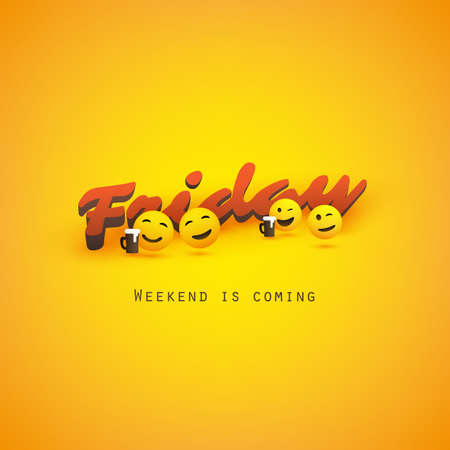 Friday! - Weekend's Coming Banner With Winking and Smiling Emoji, Emoticons Vettoriali